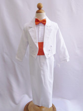 Boy Suit White with Orange Cummerbund, Tie