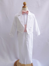 Boy Suit White with Peach Light Cummerbund, Tie