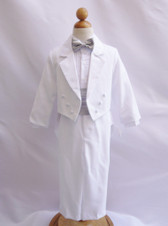 Boy Suit White with Silver Cummerbund, Tie