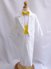 Boy Suit White with Yellow Cummerbund, Tie