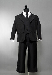 Boy Suit Black with Black Vest, Tie