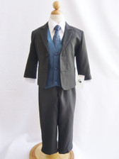 Boy Suit Black with Blue Navy Vest, Tie
