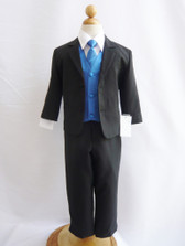 Boy Suit Black with Blue Royal Vest, Tie