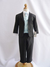 Boy Suit Black with Blue Sky Vest, Tie