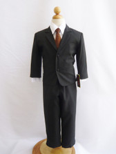 Boy Suit Black with Brown Vest, Tie
