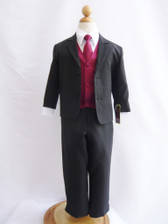 Boy Suit Black with Burgundy Vest, Tie
