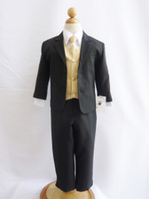 Boy Suit Black with Champagne Vest, Tie