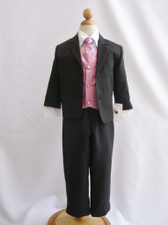 Boy Suit Black with Dusty Rose Vest, Tie