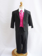 Boy Suit Black with Fuchsia Vest, Tie