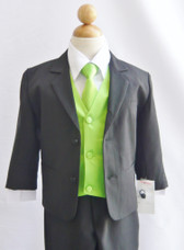 Boy Suit Black with Green Apple Vest, Tie
