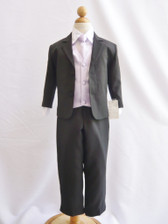 Boy Suit Black with Lilac Vest, Tie