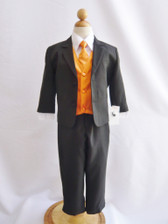 Boy Suit Black with Orange Vest, Tie