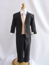 Boy Suit Black with Peach Light Vest, Tie
