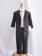 Boy Suit Black with Pink Light Vest, Tie