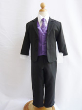 Boy Suit Black with Purple Eggplant Vest, Tie