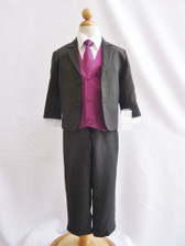 Boy Suit Black with Purple Plum Vest, Tie