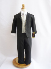Boy Suit Black with Silver Vest, Tie