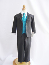 Boy Suit Black with Teal Vest, Tie