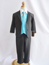 Boy Suit Black with Turquoise Vest, Tie