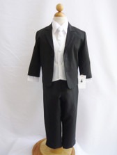 Boy Suit Black with White Vest, Tie