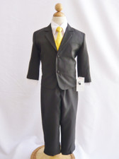 Boy Suit Black with Yellow Vest, Tie
