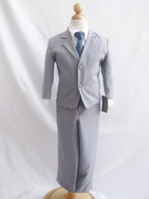 Boy Suit Gray with Blue Navy Vest, Tie