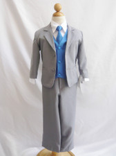 Boy Suit Gray with Blue Royal Vest, Tie