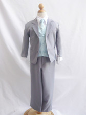 Boy Suit Gray with Blue Sky Vest, Tie