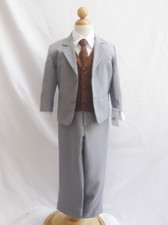 Boy Suit Gray with Brown Vest, Tie