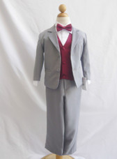 Boy Suit Gray with Burgundy Vest, Tie