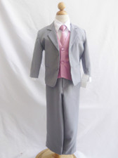 Boy Suit Gray with Dusty Rose Vest, Tie