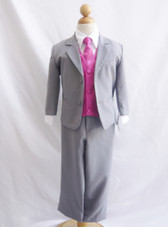 Boy Suit Gray with Fuchsia Vest, Tie