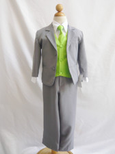 Boy Suit Gray with Green Apple Vest, Tie