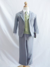 Boy Suit Gray with Green Sage Vest, Tie