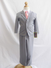 Boy Suit Gray with Guava Vest, Tie