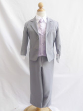 Boy Suit Gray with Lilac Vest, Tie