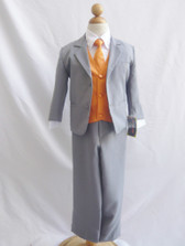 Boy Suit Gray with Orange Vest, Tie
