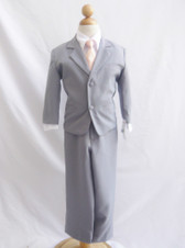 Boy Suit Gray with Peach Light Vest, Tie