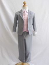 Boy Suit Gray with Pink Light Vest, Tie