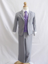 Boy Suit Gray with Purple Eggplant Vest, Tie
