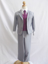 Boy Suit Gray with Purple Plum Vest, Tie