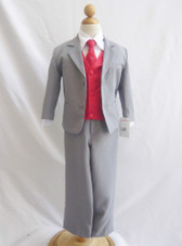 Boy Suit Gray with Red Cherry Vest, Tie