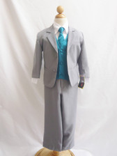 Boy Suit Gray with Teal Vest, Tie