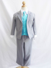 Boy Suit Gray with Turquoise Vest, Tie