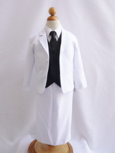 Boy Suit White with Black Vest, Long / Formal tie