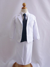 Boy Suit White with Blue Navy Vest, Long / Formal tie