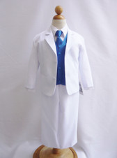 Boy Suit White with Blue Royal Vest, Long / Formal tie