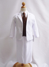 Boy Suit White with Brown Vest, Long / Formal tie