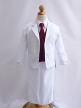 Boy Suit White with Burgundy Vest, Long / Formal tie