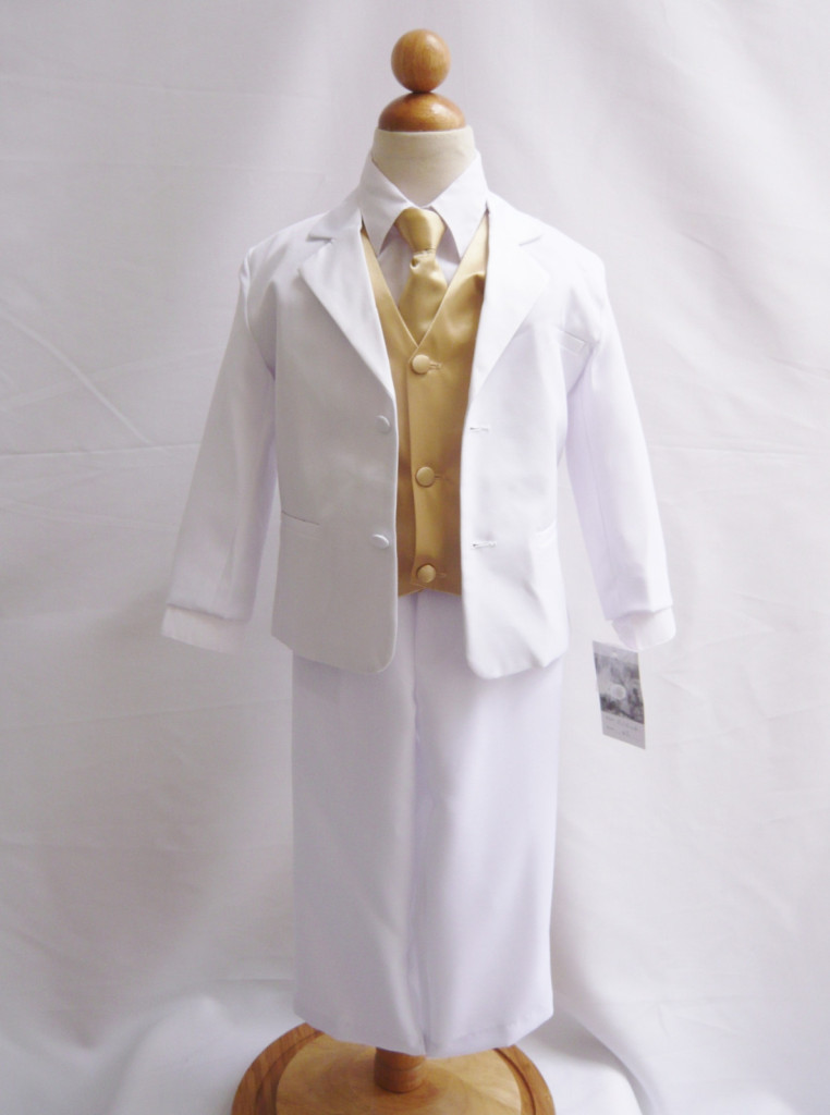 f2f40b333571 Boy Suit White with Champagne Vest, Long / Formal tie